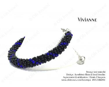 """Bracelet """"Vivianne"""" en noir et bleu cobalt"""