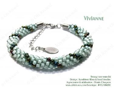 """Bracelet """"Vivianne"""" en 2 tons de vert"""