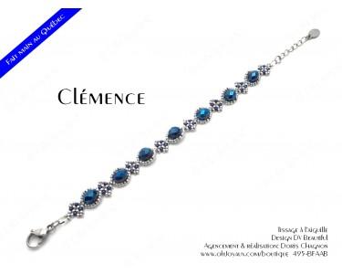 """Bracelet """"Clémence"""" en marine et argenté"""