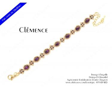 """Bracelet """"Clémence"""" en bourgogne et doré"""