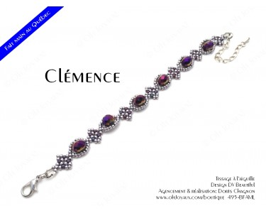 "Bracelet ""Clémence"" en bourgone et lavande"