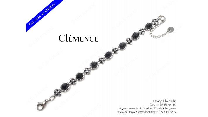 """Bracelet """"Clémence"""" en noir et argenté"""
