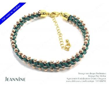 """Bracelet """"Jeannine"""" en vert et champagne"""