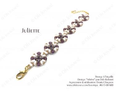 """Bracelet """"Juliette"""" de couleur blanc, améthyste et doré"""