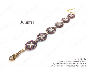 """Bracelet """"Juliette"""" de couleur améthyste, blanc et doré"""