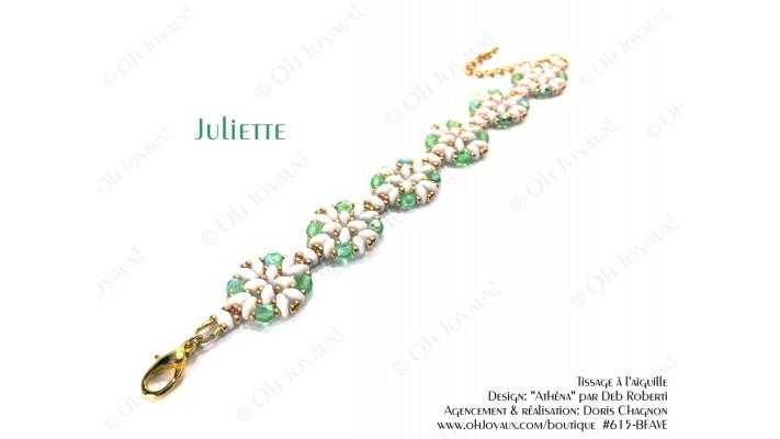 """Bracelet """"Juliette"""" de couleur péridot, blanc et doré"""