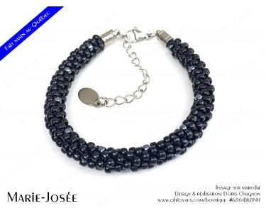 """Bracelet """"Marie-Josée"""" en noir et hématite"""