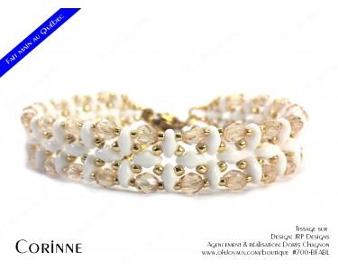 """Bracelet """"Corinne"""" en blanc et doré"""