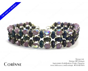 """Bracelet """"Corinne"""" en prune mûre et argenté"""