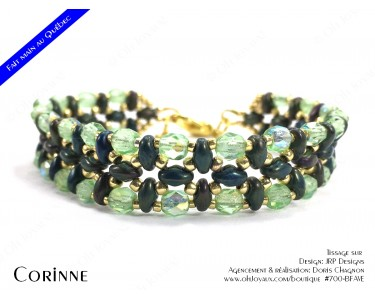 "Bracelet ""Corinne"" en vert irlandais et doré"