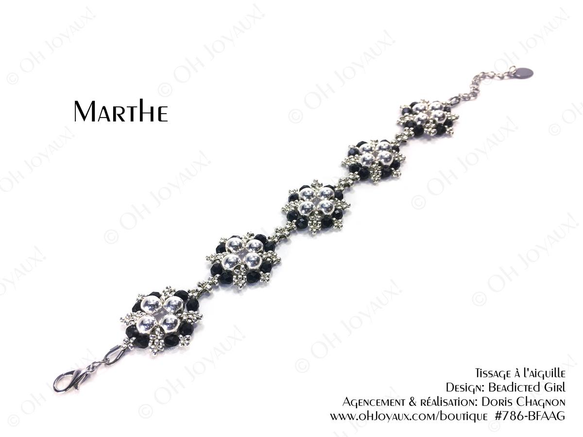 """Bracelet """"Marthe"""" en noir et argenté"""