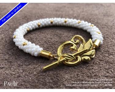 """Bracelet """"Paule"""" en blanc et doré"""