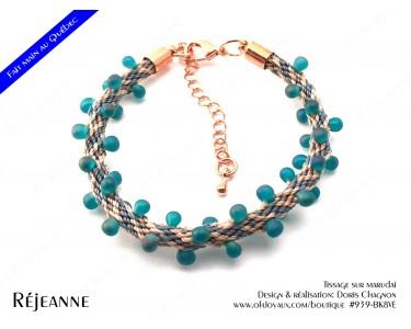"Bracelet ""Réjeanne"" en vert et champagne"