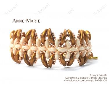 """Bracelet """"Anne-Marie"""" dans les tons de crème, champagne et or antique"""