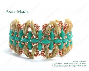 """Bracelet """"Anne-Marie"""" dans les tons de turquoise et crème brulée"""