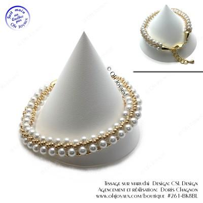 Bracelet Élégant en blanc et doré