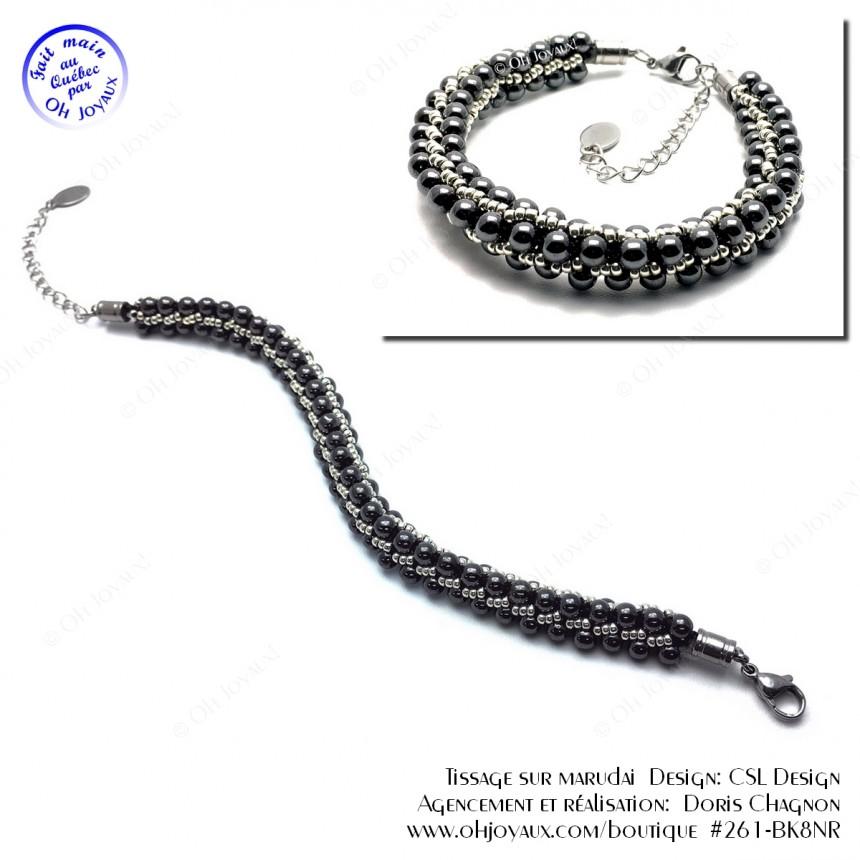 Bracelet Élégant en noir et gris