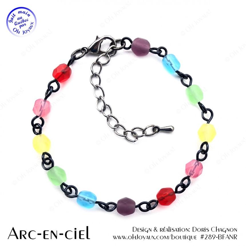 Bracelet Arc-en-ciel sur tiges métalliques couleur noire