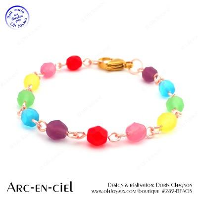 Bracelet Arc-en-ciel sur tiges métalliques couleur champagne