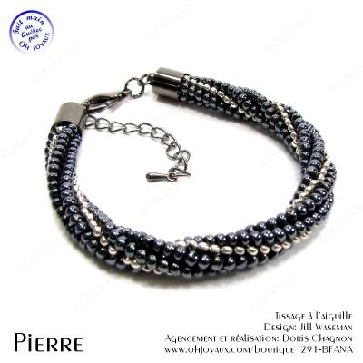 Bracelet Pierre noir et gris