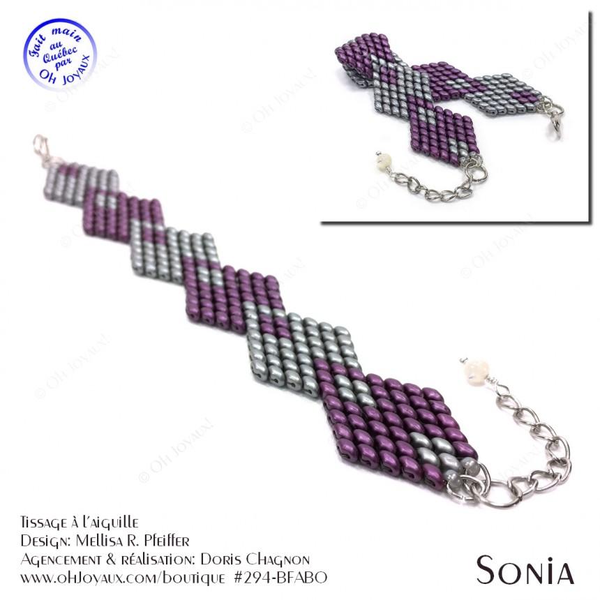 Bracelet Sonia en bordeaux et argent