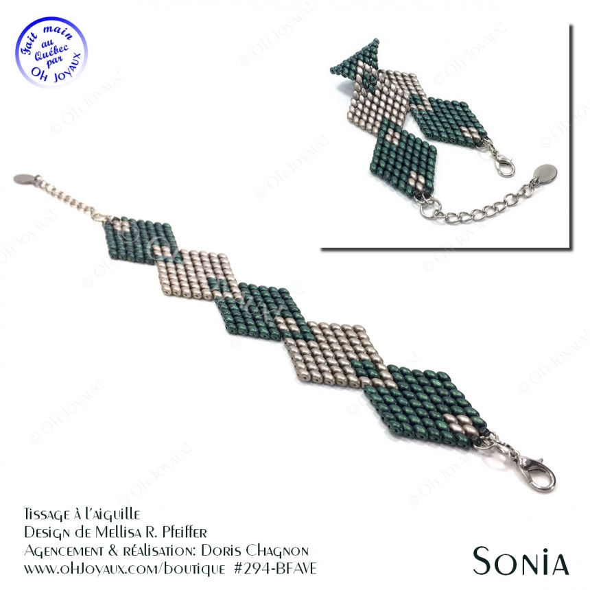 Bracelet Sonia en vert et café crème