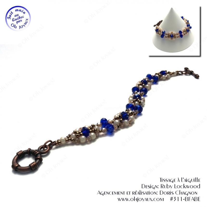 Bracelet Facettes de vie crème et bleu