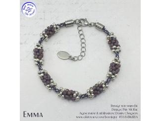 Bracelet Emma en bourgogne et argenté