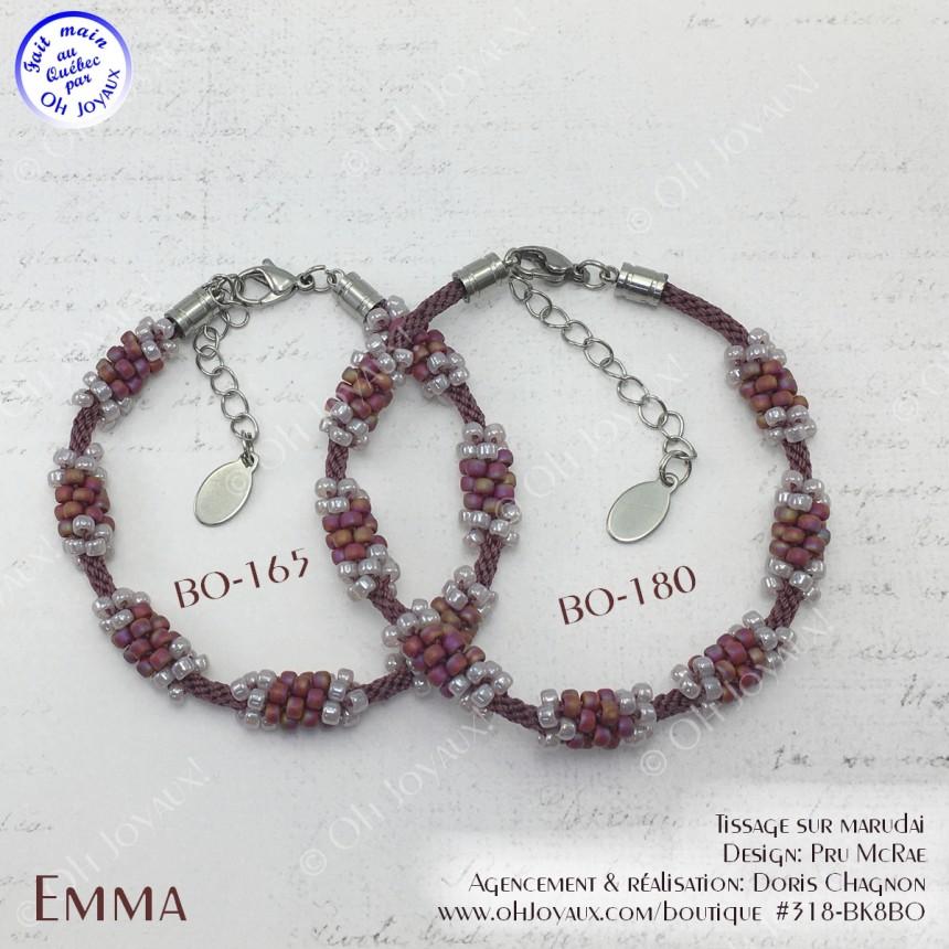 Bracelet Emma en bourgogne et lavande rosée