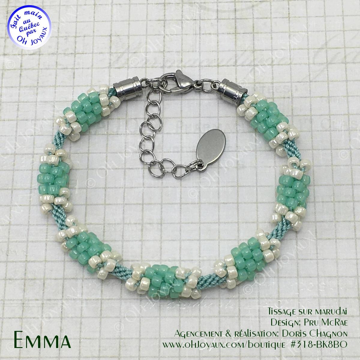 Bracelet Emma en vert kiwi et crème