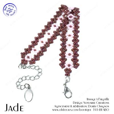 Bracelet Jade en bourgogne et rose