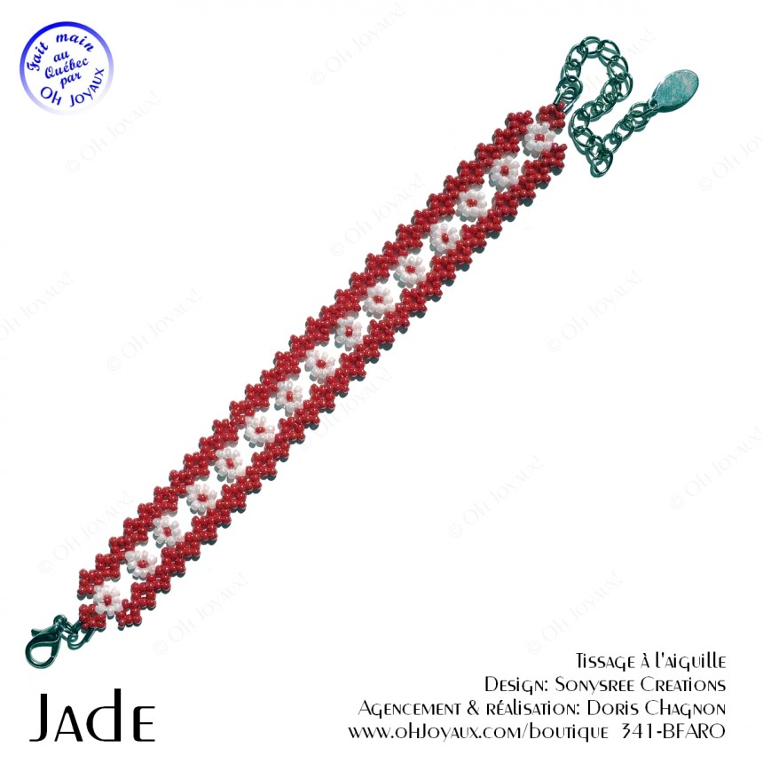 Bracelet Jade en rouge et blanc