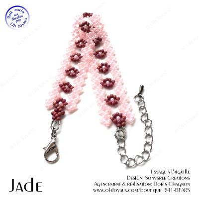 Bracelet Jade en rose et bourgogne