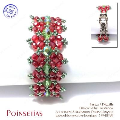 Bracelet Double Poinsettia rouge et vert
