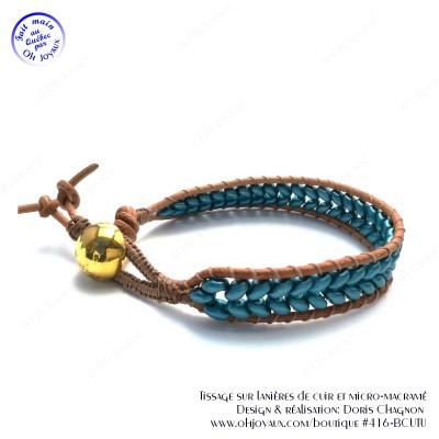 Bracelet de cuir brun et billes sarcelle