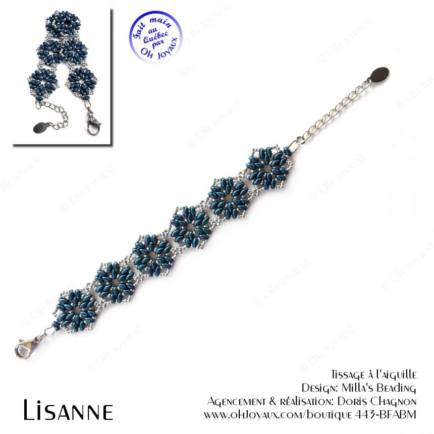 Bracelet Lisanne en bleu denim et argenté
