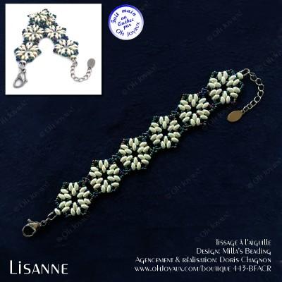 Bracelet Lisanne en crème et bleu-vert panaché