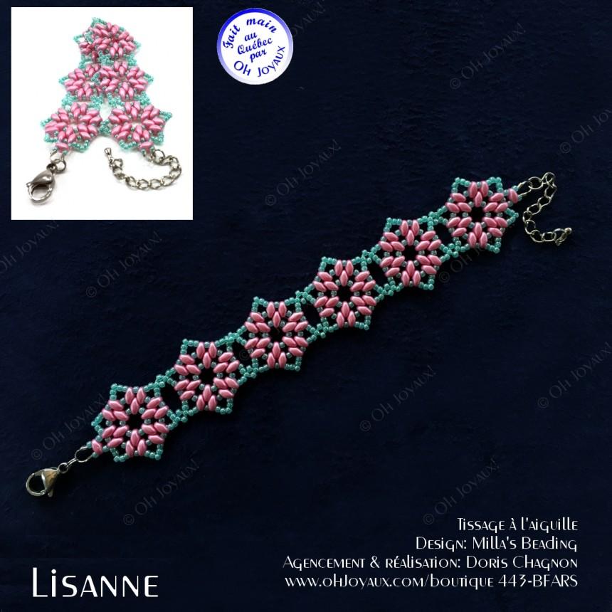 Bracelet Lisanne en rose et turquoise