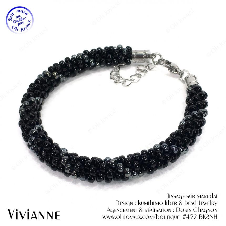 Bracelet Vivianne en noir et hématite