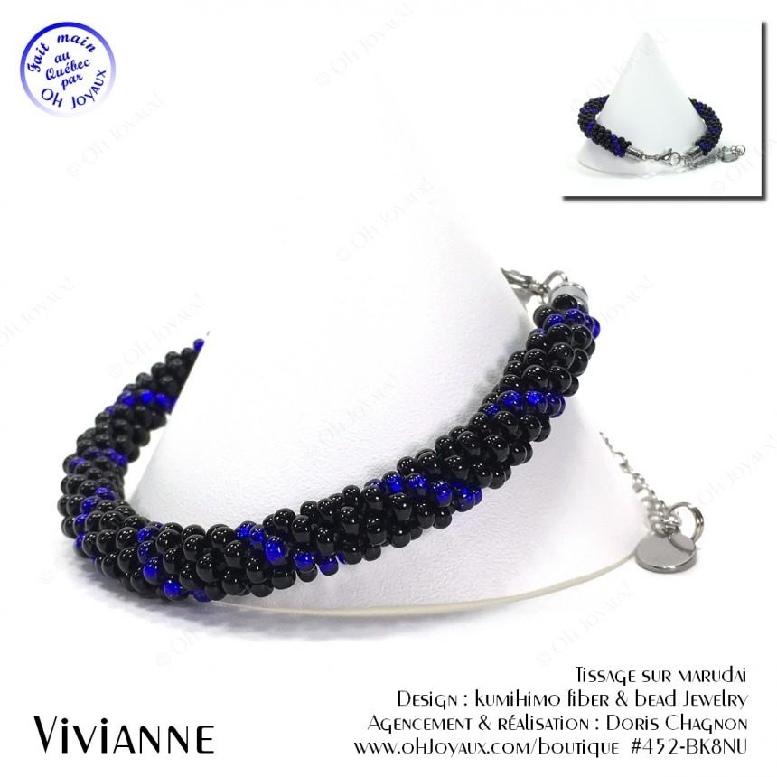 Bracelet Vivianne en noir et bleu cobalt