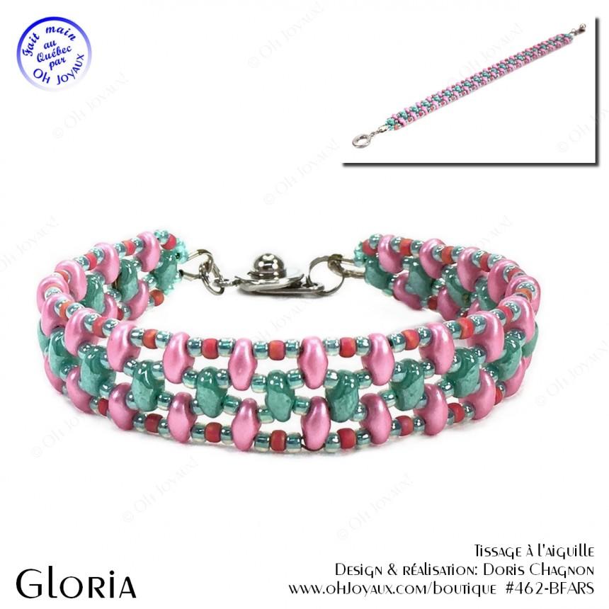 Bracelet Gloria en rose et turquoise