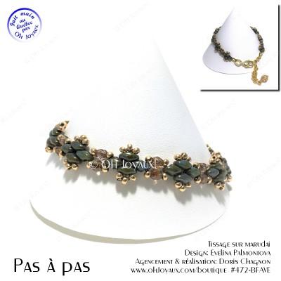 Bracelet Côte à côte vert et or