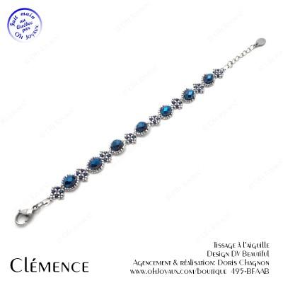 Bracelet Clémence en marine et argenté