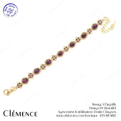 Bracelet Clémence en bourgogne et doré