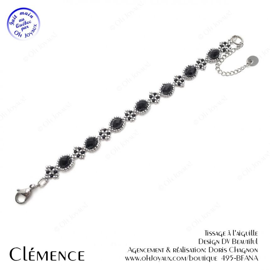 Bracelet Clémence en noir et argenté
