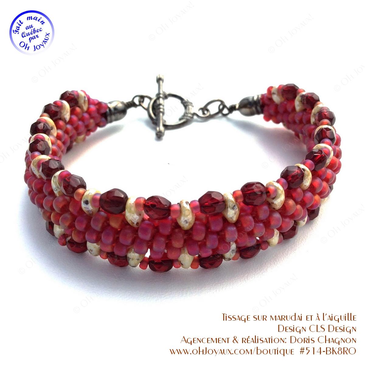 Bracelet Sur la route de couleur rubis