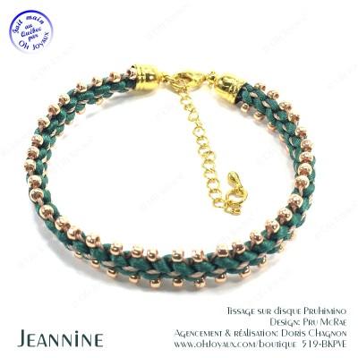 Bracelet Jeannine en vert et champagne