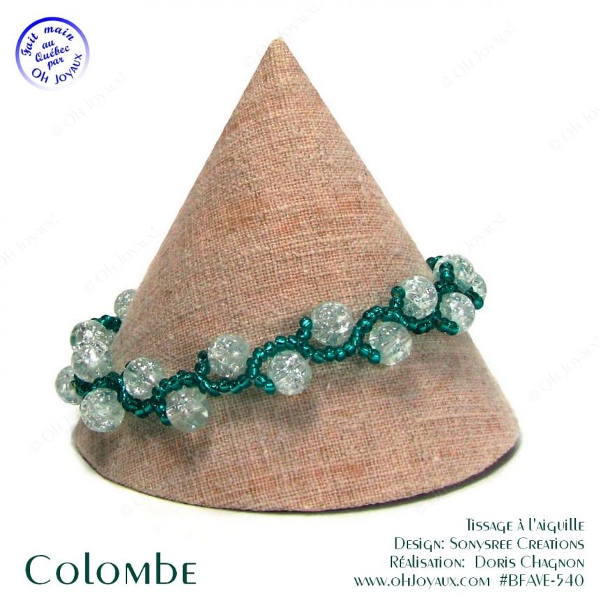 Bracelet Colombe en transparent et vert émeraude