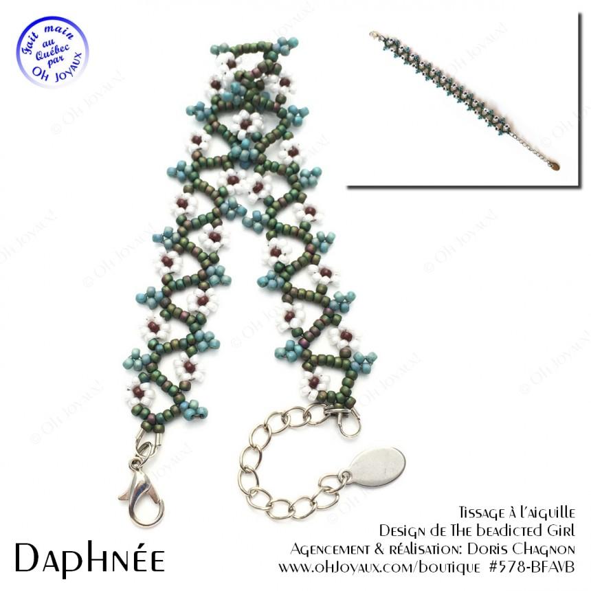Bracelet Daphnée en vert et blanc