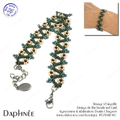 Bracelet Daphnée en vert et caramel
